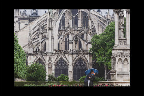 Groom-to-be kissing his wife-to-be under an umbrella in front of Notre Dame Cathedral in Paris