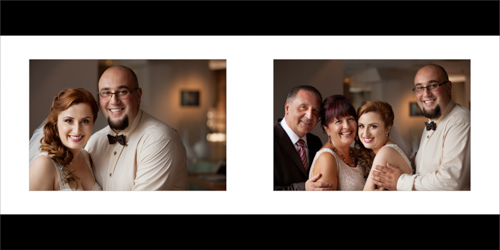 Family portraits of the bride, her brother and her parents