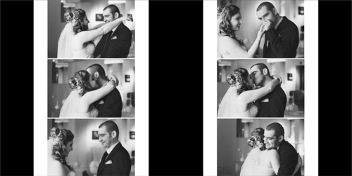 Bride and groom hugging and kissing when meeting for the first time on their wedding day