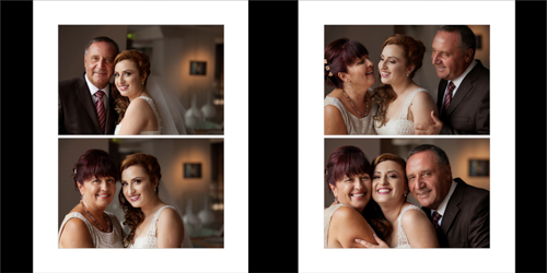 Family portraits of the bride and her parents