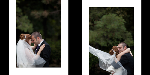 Bride and groom cuddling and hugging with veil blowing in the wind