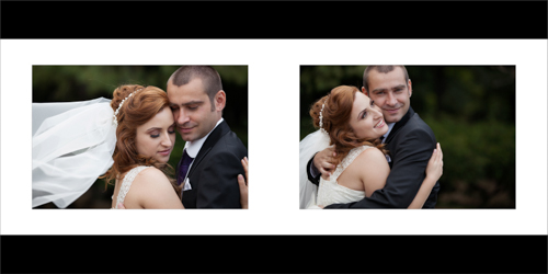 Bride and groom hugging and smiling tenderly