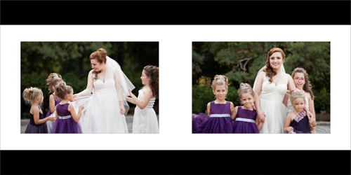 Bride and little girls playing and having fun