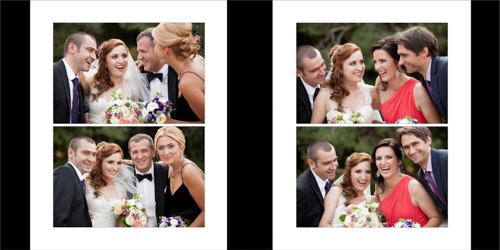 Portraits of wedding couple and their godparents having a good laugh