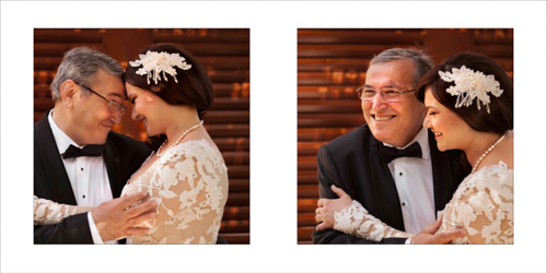 Bride and her father affectionately hugging and laughing together