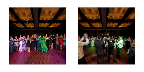 Bride and groom dancing and having fun with their guests at their wedding reception