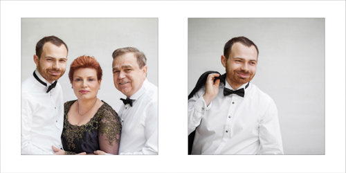 Classic portrait of groom and his parents
