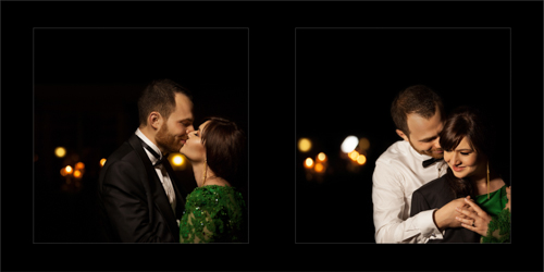 Groom kissing his bride and covering her up with his suit jacket to protect her from cold